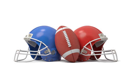 3d rendering of an oval American football ball between two helmets of different colors. Foto de archivo