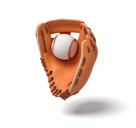 3d rendering of a new orange baseball mitt hanging on the white background with a white ball inside it.