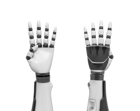 3d rendering of two robotic arms with all fingers sticking out except the thumb.