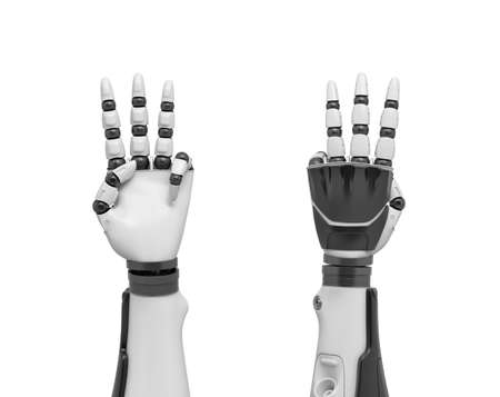 3d rendering of two robotic arms with all fingers sticking out except the thumb and the pinky finger.