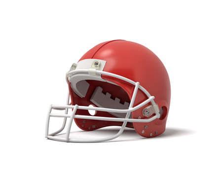 3d rendering of a red American football helmet with a white protective grid on a white background. Reklamní fotografie