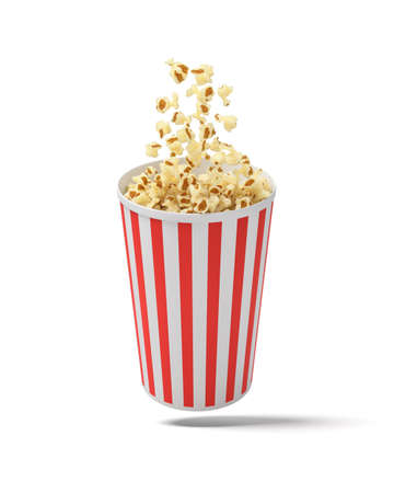 3d rendering of a round striped popcorn bucket hanging in the air with popcorn flying out of it.