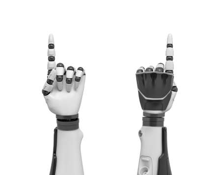 3d rendering of two robotic arms with all fingers in a fist except the index finger pointing out.