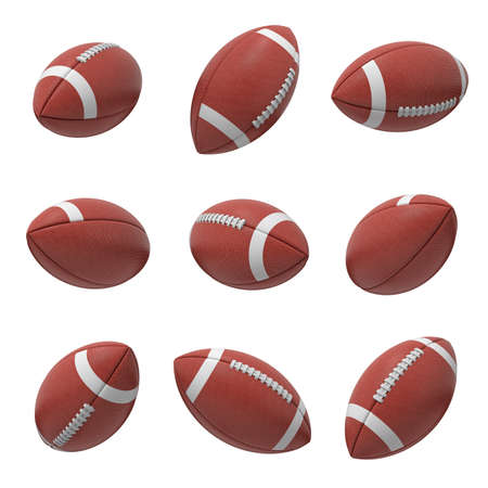 3d rendering of several oval American football ball hanging on a white background and shown from different sides. Stock Photo