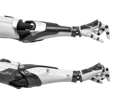 3d rendering of two robot arms with thumbs and index fingers measuring an extremely small object. 스톡 콘텐츠