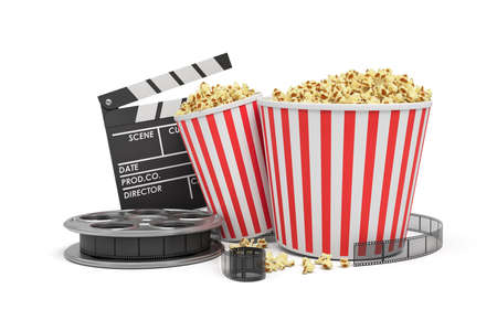 3d rendering of a video reel, popcorn buckets and a clapperboard on a white background.