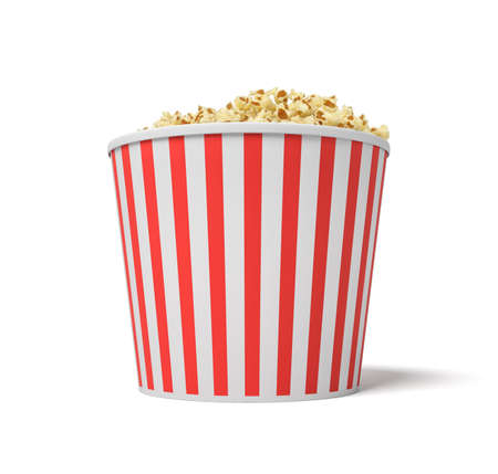 3d rendering of a large red and white bucket full of popcorn on a white background.