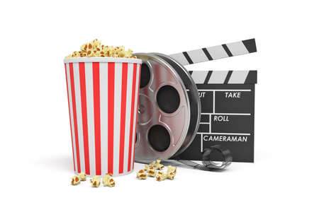 3d rendering of a video reel, popcorn bucket and a clapperboard on a white background.