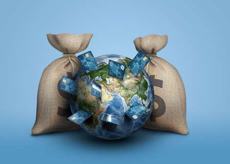 3d rendering of a Earth globe surrounded by two large moneybags and with banking cards sticking from its surface like knives.