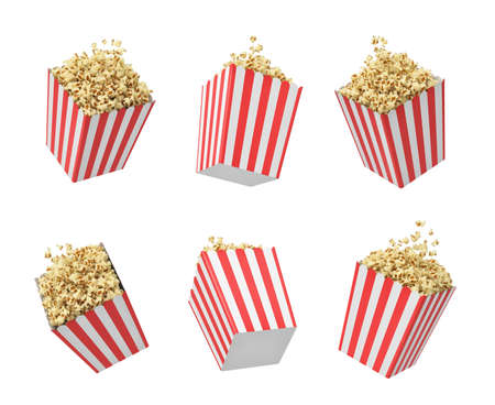 3d rendering of six striped pop corn tubs hanging on white background.