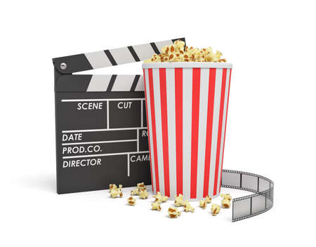 3d rendering of a full popcorn bucket standing near an empty clapperboard and a film strip on white background. Stock Photo
