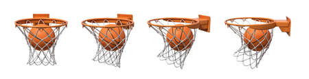 3d rendering of a set made of four basketball baskets with a ball falling inside each of them. Banco de Imagens