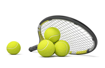 3d rendering a single tennis racquet lying with a yellow balls on white background.