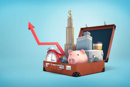 3d rendering of a open retro suitcase holding a piggy bank, skyscrapers, safe box, credit card and an upwards arrow. Stock fotó