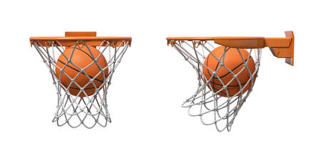 3d rendering of two basketball nets with orange hoops with a ball falling inside. Imagens
