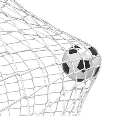 3d rendering of a football ball hitting the net inside the gate on white background. Фото со стока