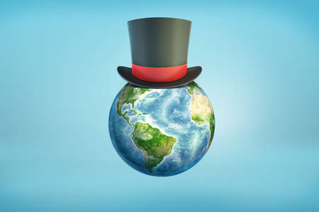 3d rendering of a Earth globe with a black magicians top hat sitting on its surface like on a head.