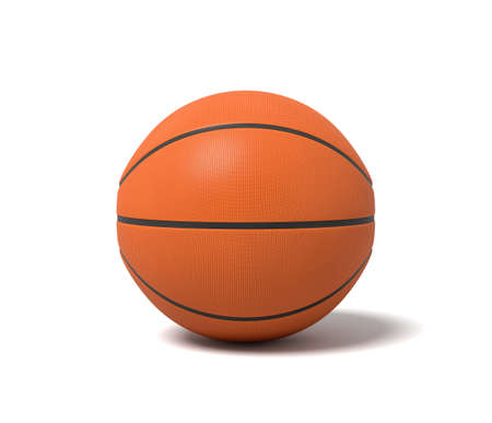 3d rendering of an orange basketball with black stripes standing on a white background.