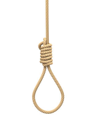 3d rendering of a hangmans noose made of natural beige rope hanging on a white background