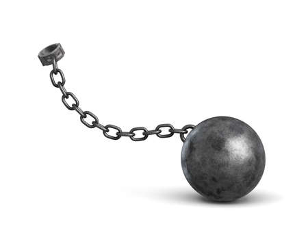 3d rendering of a lying iron ball attached to a shackle with a strong chain.