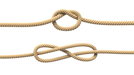 3d rendering of two isolated lines of natural rope with loose knots in their centers.