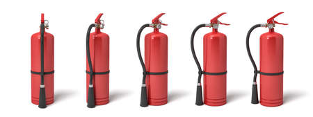 3d rendering of six red fire extinguishers standing on a white background in different angles.