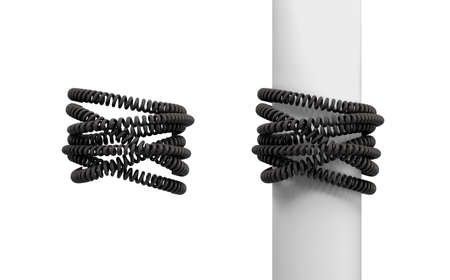 3d rendering of two sets of black messy phone cables wound around a post and around empty space.