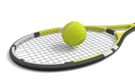 3d rendering a single tennis racquet lying with a yellow ball on top of its mesh head.