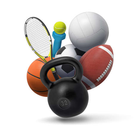 3d rendering of collection of sport and fitness equipment: a dumbbell, a kettlebell, tennis gear, and several team sport balls. Stok Fotoğraf