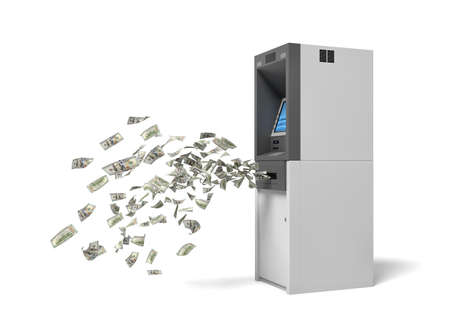 3d rendering of a bank ATM machine with green banknotes flying out of it. Фото со стока