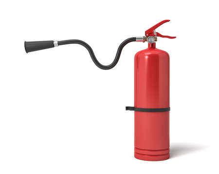 3d rendering of a single red fire extinguisher with its hose lifted up the nozzle pointed straight. Foto de archivo