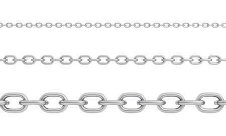 3d rendering of three horizontally placed polished steel chains of different size with strong links.
