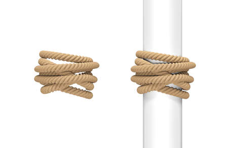 3d rendering of two pieces of natural rope wound around a post and around empty space.
