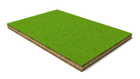 3d rendering of an isolated sports field with green grass on a white background. Imagens