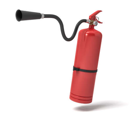 3d rendering of a single red fire extinguisher with its hose lifted up the nozzle pointed straight. Imagens
