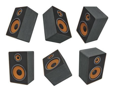 3d rendering of six big black and orange music speakers hanging in different views on a white background.