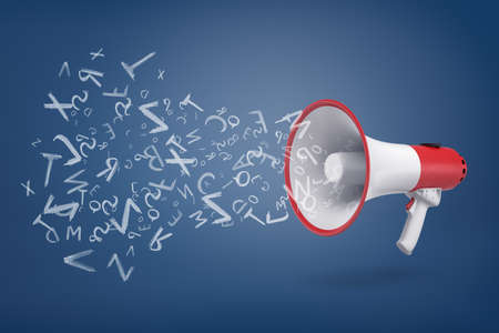 3d rendering of white and red megaphone on a blue background with many sound and letter signs flying out of it.