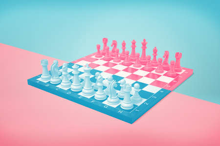 A blue and pink chessboard with all figures standing at the start positions on a contract background.