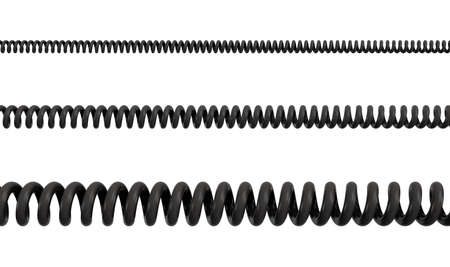 3d rendering of three differently sized spiral cables from black PVC on a white background.