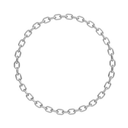 3d rendering of a polished steel chain made in shape of a perfect circle on a white background.