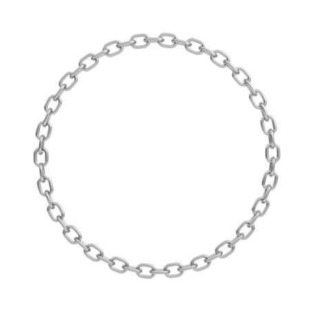 3D-Rendering einer polierten Stahlkette in Form eines perfekten Kreises auf weißem Hintergrund.