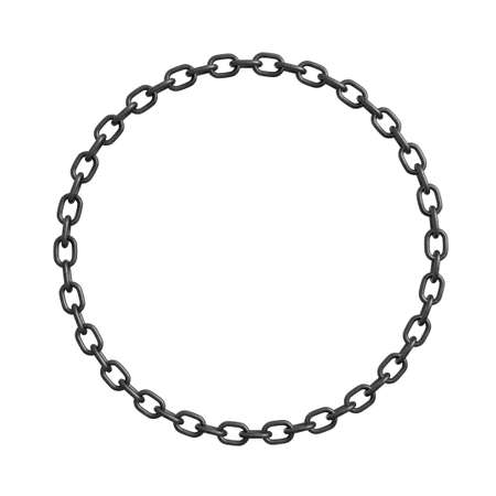 3d rendering of a metal chain made in shape of a perfect circle on a white background. Stock Photo