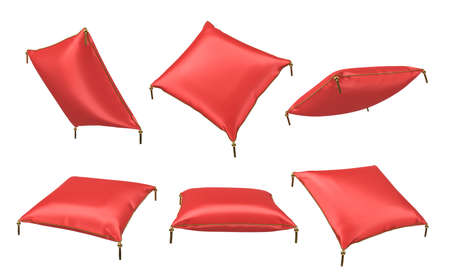 3d rendering of several red satin pillows with golden trims hanging on a white background.