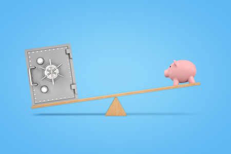 3d rendering of wooden seesaw with a metal safe box overweighing a large pink piggy bank.