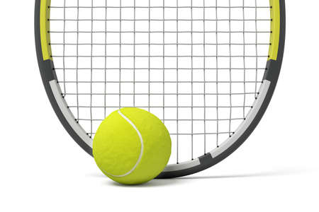 3d rendering a single tennis racquet lying with a yellow ball on white background.