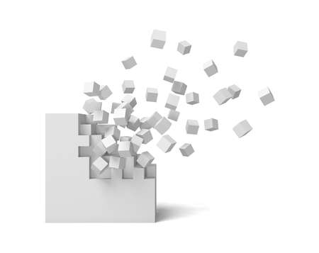 3d rendering of a white square on a white background starting to get destroyed piece by piece. Stockfoto