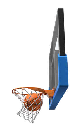 3d rendering of a basketball ball falling inside a basket attached to a transparent backboard. Imagens