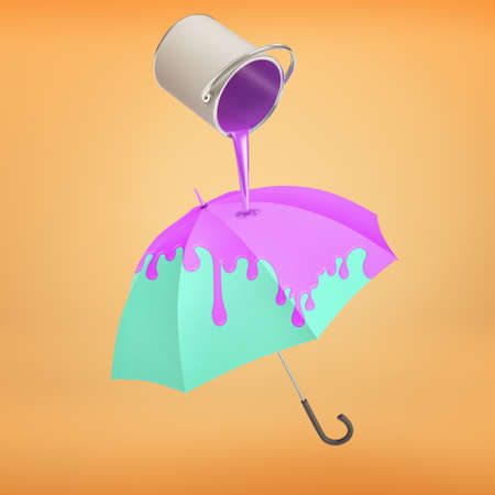 3d rendering of bright blue umbrella gets turned into violet color because of a metal can pouring paint on it. Stok Fotoğraf
