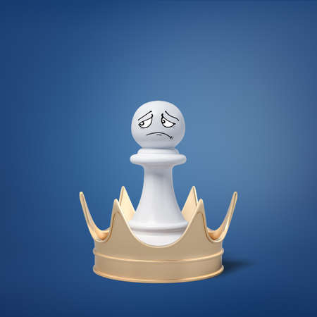 3d rendering of small white pawn with a sad drawn face stands in the center of a golden crown which is too big to wear. Stock Photo