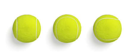 3d rendering of similar bright yellow tennis balls hanging on white background in top view. Stock Photo